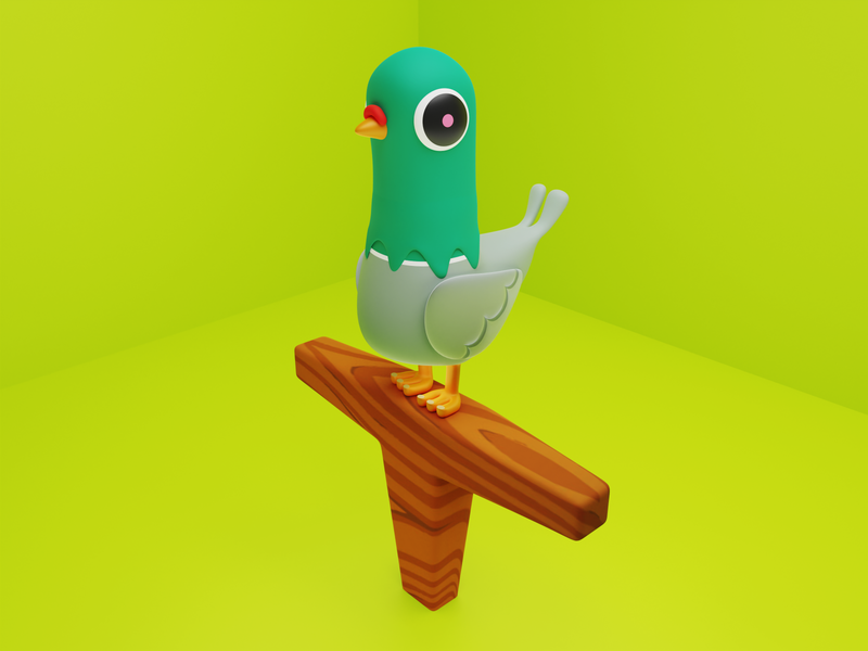 Bird cartoonish cartoon funny dove bird character cycles blendercycles render 3d blender3d b3d blender