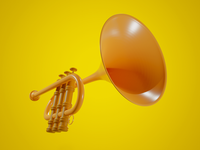 Trumpet 3D music blendercycles render 3d blender3d b3d blender
