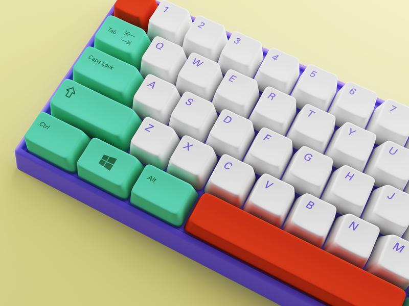 Custom Keyboard keys cycles blendercycles render 3d blender3d b3d blender pc keycaps keyboard