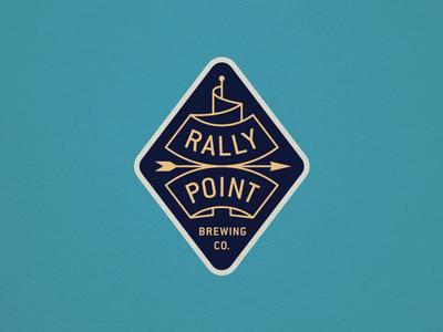 Rally Point arrow flag brewery logo branding