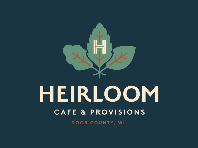 Heirloom Cafe provisions cafe heirloom logo leaf
