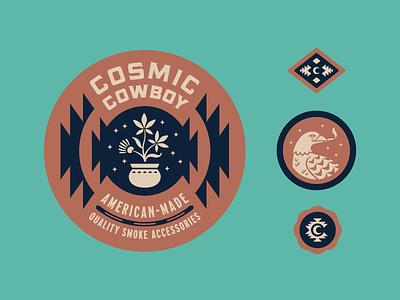 Cosmic Cowboy Badges southwestern bird eagle flower cowboy cosmic