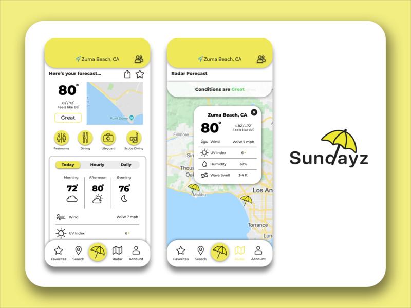 Sundayz Weather App mockup design logo illustration branding app beach location vector icons illustrator ux design homepage radar uxui uidesign uxdesign weather app