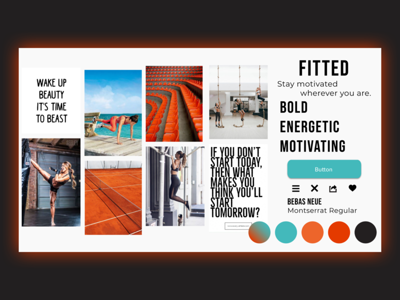 Fitted Motivate! Mood Board energetic workout app motivated fitness app colorpalette moodboard