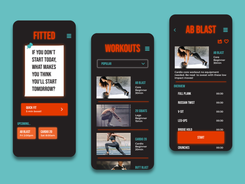 Fitted Motivate! Fitness App uid workout app motivate iteration uidesign mobile app fitness app