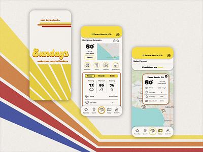 Sundayz : Retro Redesign beach design beach app redesign-tuesday redesign concept sketchapp retro design retro logo sundayz weatherapp uidesign uxui uxdesign ui redesign