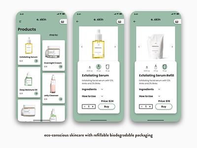 Refillable Skincare Brand sustainable label design packaging design eco-friendly ecommerce design ecommerce ecommerce app skincare ux ui branding design mockup design app illustration uxdesign uidesign
