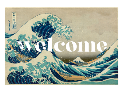 Welcome The Great Wave thegreatwave japan kanagawa wave vector typography type lettering graphic design
