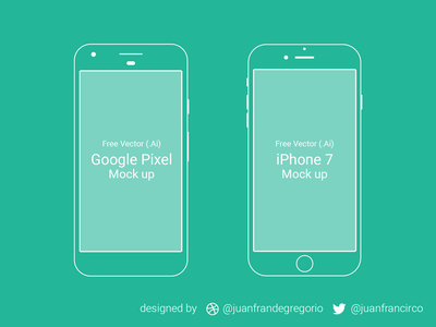 Free Google Pixel - iPhone 7 Mockup ios android apple freebie mock template device vector free mockup iphone 7 google pixel