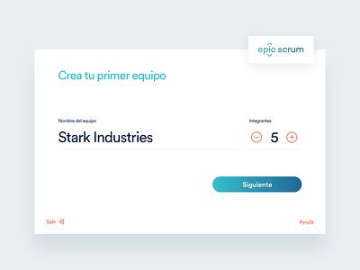 epic scrum - Dashboard and brand logo dashboard branding ui ux interaction design profile vr registration empty input field create team onboarding