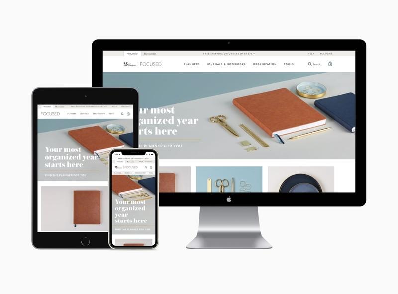 Focused by Erin Condren grid web product landing responsive stationery erin condren store ecommerce