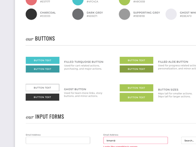 eCommerce Style Guide states swatches colors fields forms input ui buttons guide style ecommerce