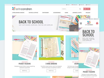 Back to School Landing Page crisp bright playful responsive grid stationery school back accessories lookbook product