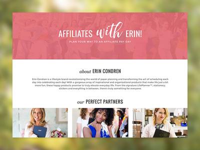Affiliates With Erin full width page info descriptive explanation feminine pink grid landing affiliates condren erin