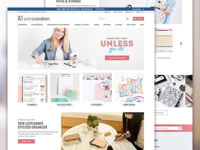 Updated Erin Condren Storefront stationery store online promotions categories stories commerce ecommerce landing storefront condren erin