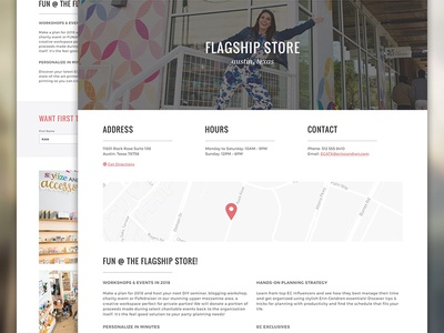 Flagship Store Landing feminine playful stationery physical locations locator store flagship retail condren erin