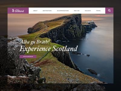 Visit Scotland nature travel landing over image typography landscape scotland