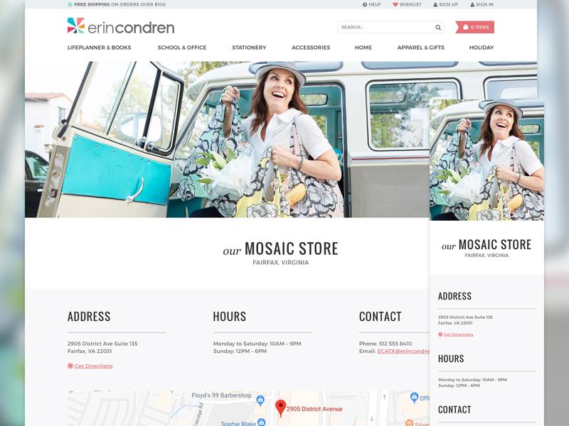 Mosaic Store Location Details retail flagship locator landing web feminine responsive stationery condren erin store ecommerce