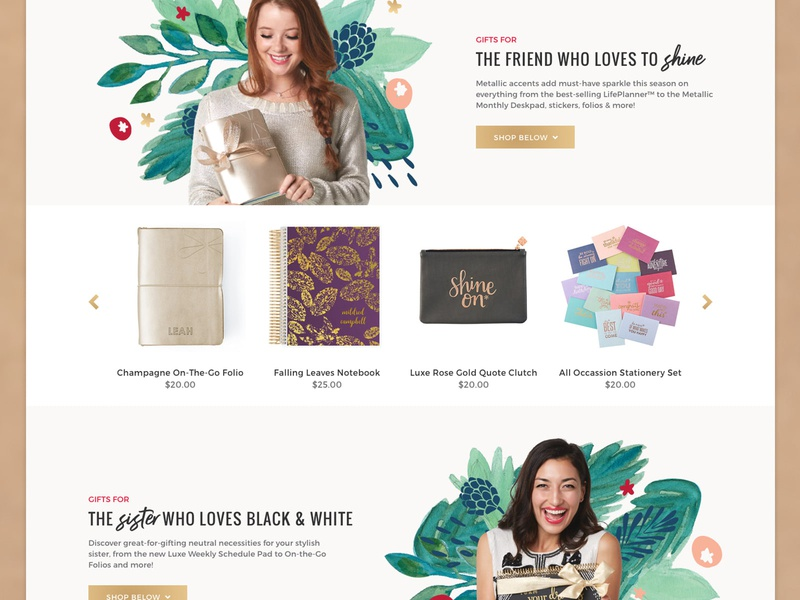 Holiday Gift Guide store responsive web landing sister products slider guide gift christmas holiday feminine illustration ecommerce stationery condren erin