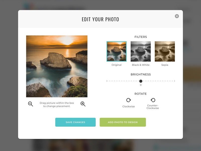 Photo Editing Modal web responsive loader collage photography filters popup modal tool uploading uploader photo stationery store condren ecommerce