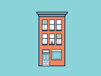 Building Illustration building vector door plant illustration shadows window city urban