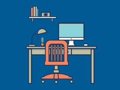 Designer Workspace chair cactus lamp office shelf imac camera desk workspace