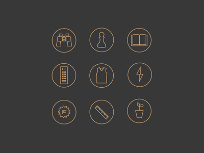 Content Strategy Icons illustration icons plant ruler gear lightning jersey remote book chess binoculars