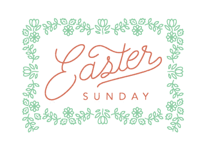 Easter spring typography lettering flowers easter