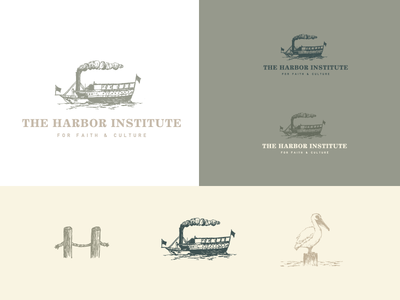 The Harbor Institute illustration pelican harbor ship boat logo branding