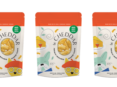 Le Cheddar illustration branding puffs cheese cat dog packaging