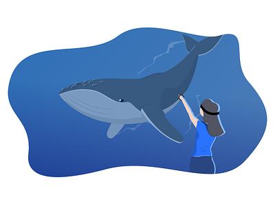 VR Whale Illustration vector ui onboarding vr illustration