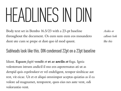 Experimenting with type styles for an ebook typography din condensed bembo classical canon baseline page layout old school
