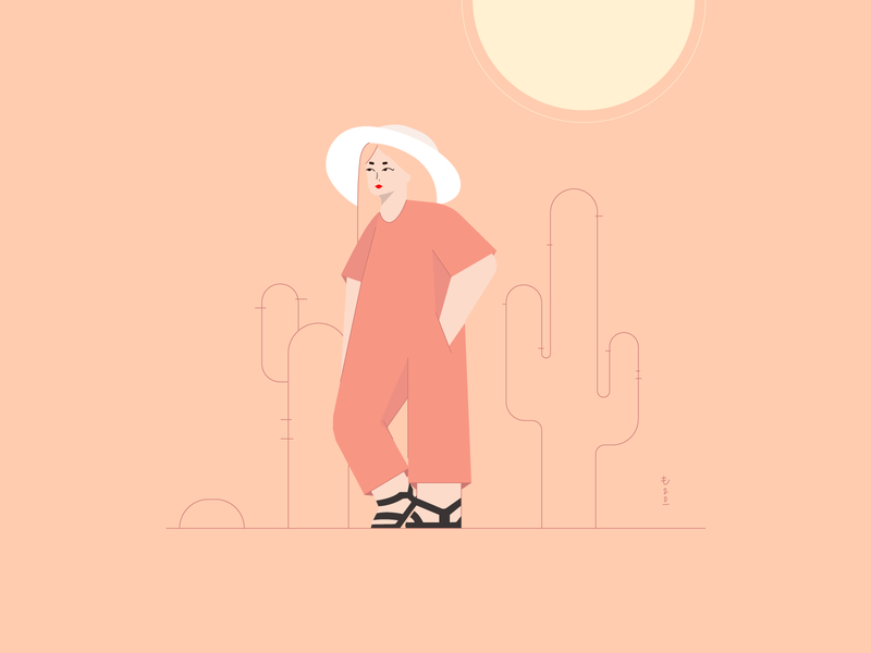 #FunWithFaces 006 sunny salmon pink vacation holiday desert sun illustration design illustration art illustration design color characters minimal illustrator