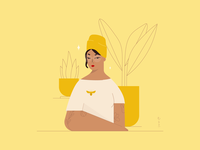 #FunWithFaces 007 tattoo glasses yellow plants honey bee illustration design illustration art illustration design color characters minimal illustrator
