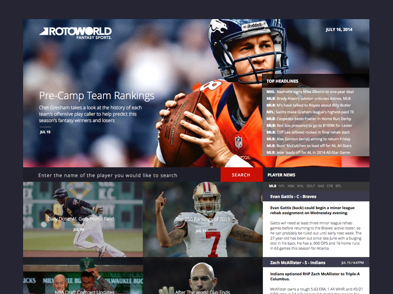 Rotoworld Redesign Concept  ui minimal interface web design redesign website layout user interface clean sports