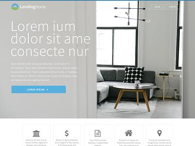 Landing page mock  clean lendinghome lending home real estate ui mock landing page