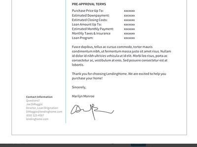 Pre Approval print clean design letter preapproval lendinghome mortgage