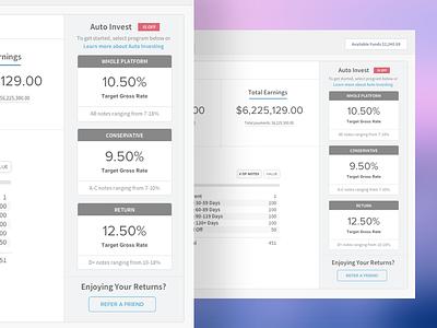 Retail Investor Dashboard web mortgage design invest ui lending dashboard lendinghome