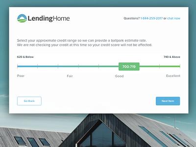 FICO Slider lendinghome borrower borrow credit score credit houses home mock ui gradient slider real estate