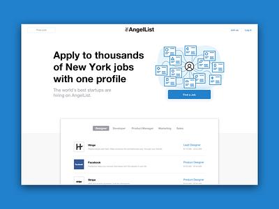 Angellist Landing Page  illustration startups find a job jobs landing page landing angellist
