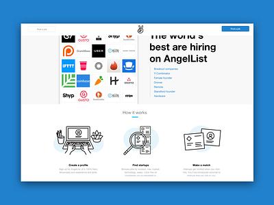 Angellist Landing Page v2 ui illustration startups find a job jobs landing page landing angellist