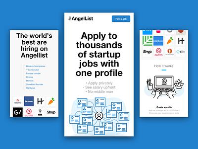 Angellist Landing Pages Mobile  mobile ui illustration startups find a job jobs landing page landing angellist