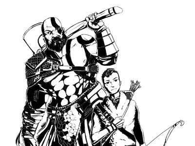 Kratos and Atreus dragon magic medieval atreus game videogame god of war kratos photoshop fantasy unique sketch line art illustration flat design design concept art concept