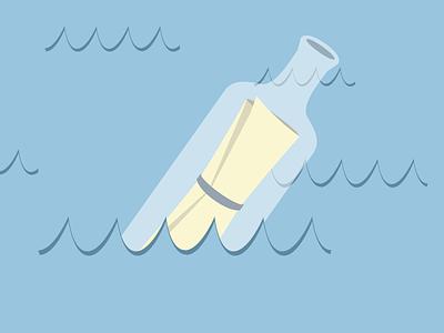 Message in a bottle illustration graphic message bottle flat