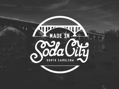 Made in Soda City logo stamp made in columbia lettering