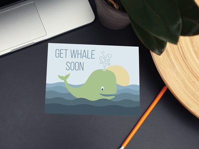 Get Whale Soon whale card greeting card illustration pun nautical ocean sea get well