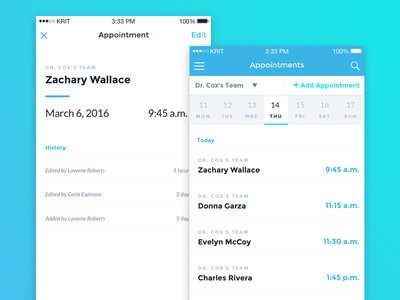 Appointments ux ui app mobile ios medical healthcare calendar appointments