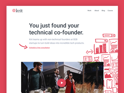 New Krit website is live! ui landing page studio homepage agency whiteboard website