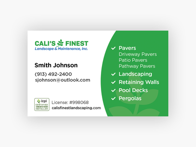 Cali's Landscaping Business Card stationery print services local business business cards minimal branding gotham graphic design modern clean green landscaping business card