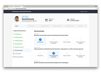 Leadership Evaluation App web ux user ui management list interface design data dashboard app modern